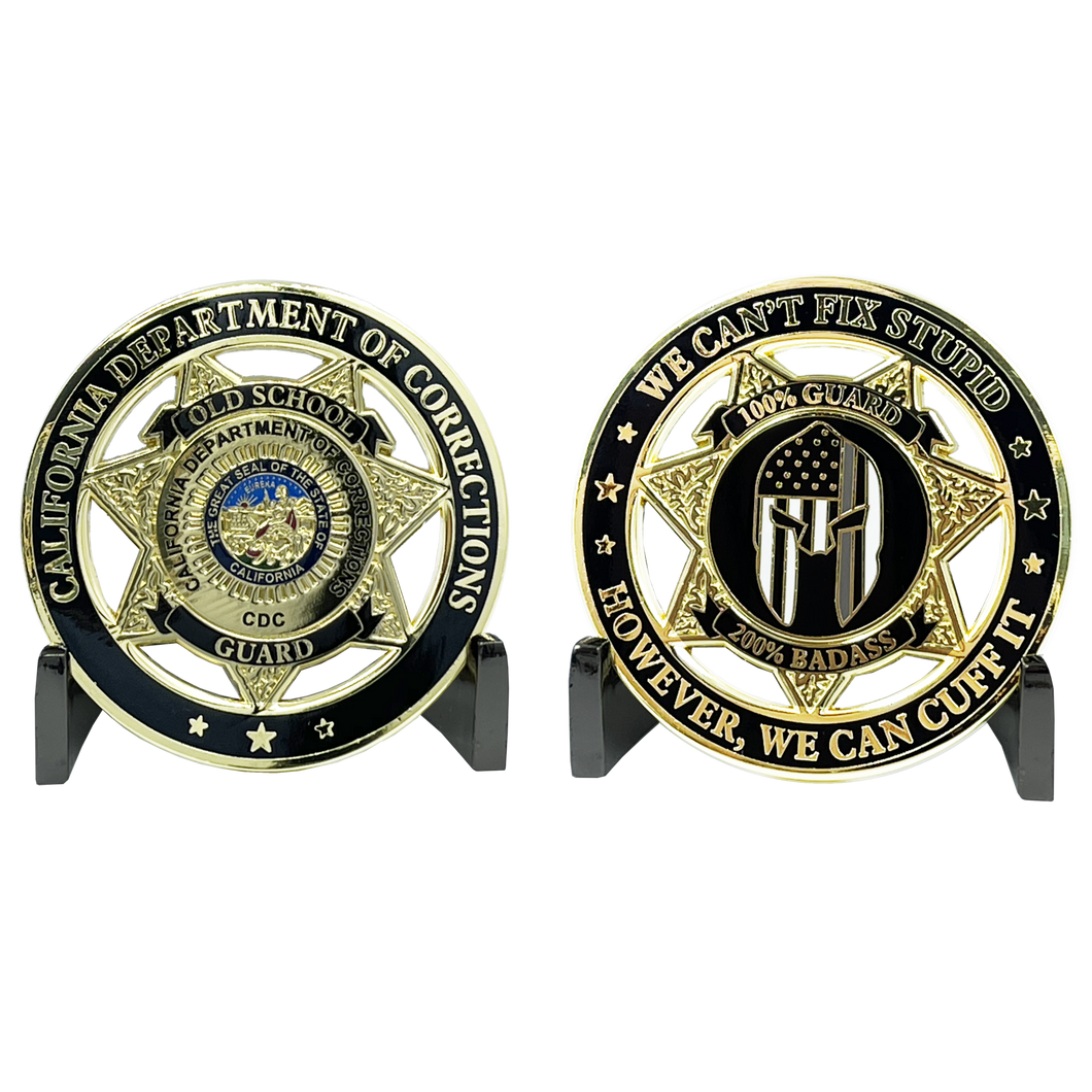 Old School Prison Jail Guard Challenge Coin Correctional Officer CO CA Department of Corrections CDC thin gray line gladiator police EL3-020