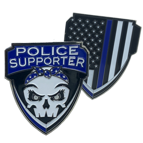 Police Supporter Thin Blue Line Challenge Coin Supporter E-005
