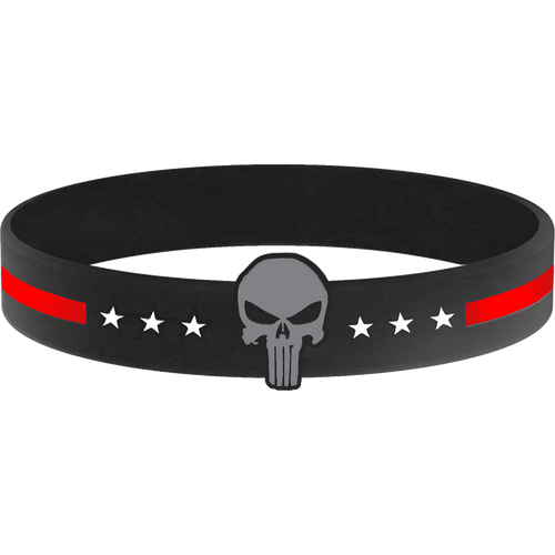 Thin Red Line Skull Silicon Bracelet (RED) Fire Department, Fire Fighter Firefighter, FDNY LAFD Chicago Fire