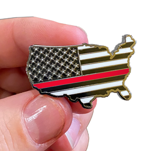 Thin Red Line 911 Firefighter U.S. Map Pin with 2 pin posts and deluxe pin clasps Fire Fighter Firehouse Department P-027
