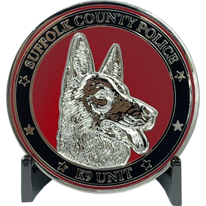 Canine K9 Officer SCPD LI Suffolk County Police Department Long island Dept. Challenge Coin thin blue line EL8-012