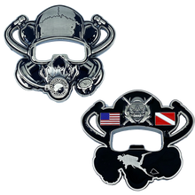 Load image into Gallery viewer, Scuba Flag Rescue Diver Skull Challenge Coin Military Police Coast Guard Navy US USA DL11-16