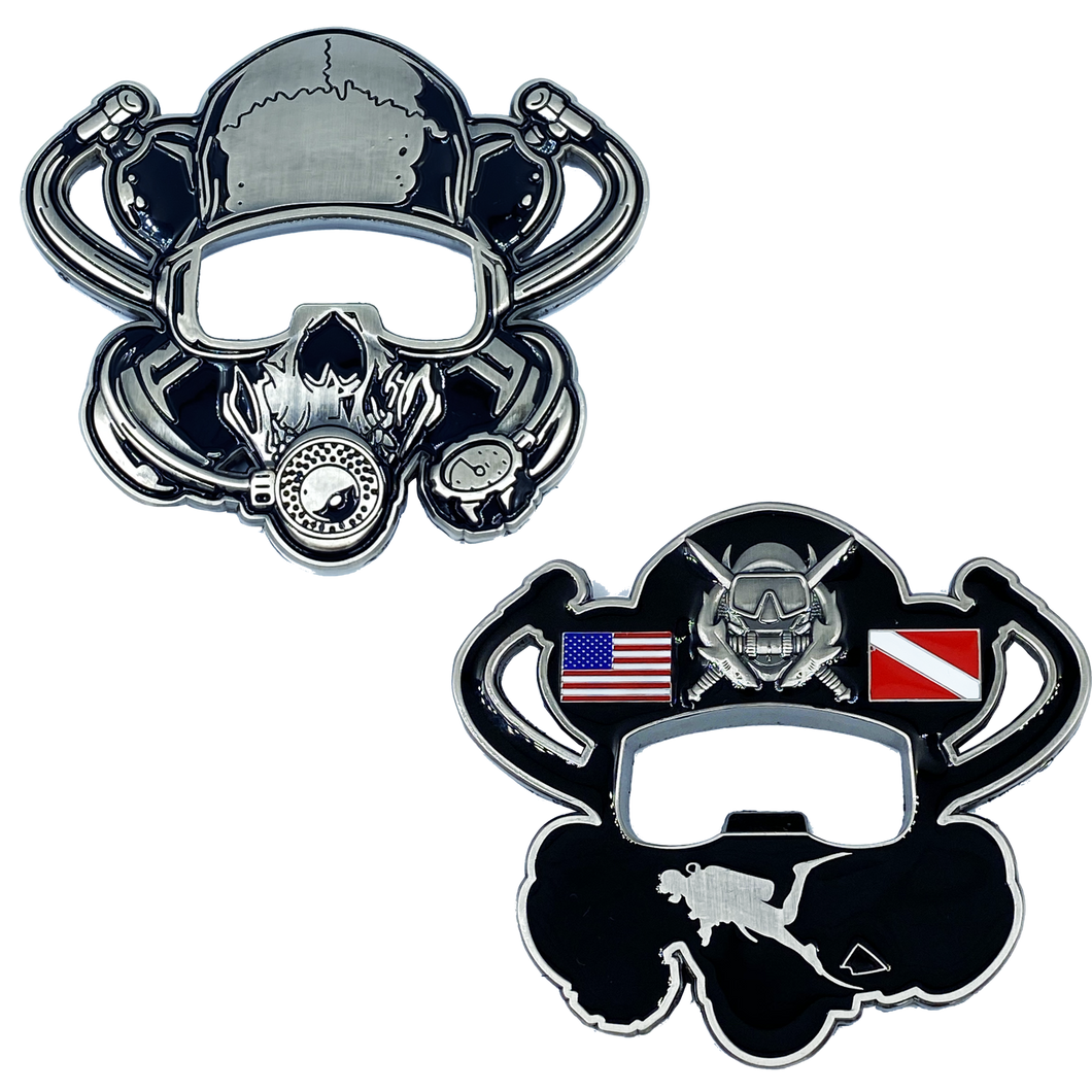 Scuba Flag Rescue Diver Skull Challenge Coin Military Police Coast Guard Navy US USA DL11-16