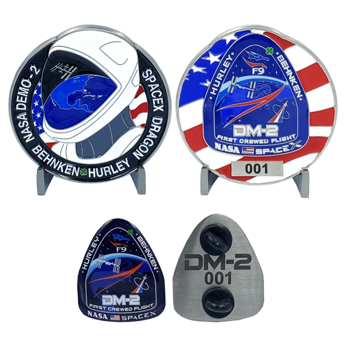 SpaceX Nasa DM-2 First Crewed Flight Challenge Coin Pin set with individual serial numbers DL11-15