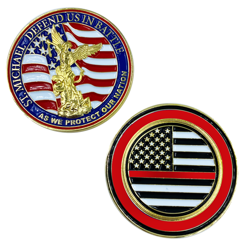 St. Michael Defend Us Police Officer's Prayer Challenge Coin Thin Red Line Fire Fighter Rescue FireFighter Department CL13-02