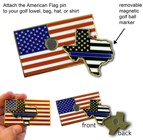 Texas Thin Blue Line Police Golf Ball Marker American Flag Challenge Coin Pin Magnetic GP-003