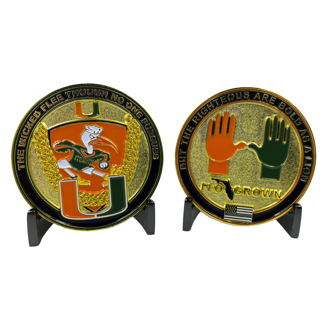 The U Universtiy of Miami Challenge Coin Miami Canes Turnover Chain UM EE-018