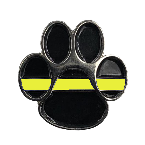 K9 Paw Thin Gold Line Canine Lapel Pin 911 Emergency Dispatcher Military Yellow Army Marines Air Force Navy CL-015
