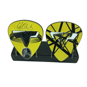 Eddie Van Halen Tribute Black and Yellow Version Guitar Pick Challenge Coin EVH Frankenstein N-005