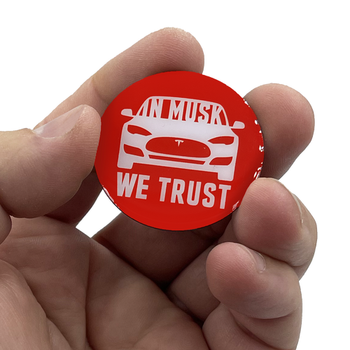 Elon Musk pin SpaceX Tesla In Musk We Trust pin with 2 pin posts EL6-013
