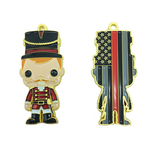 Nutcracker Challenge Coin Ornament Thin Red Line Version