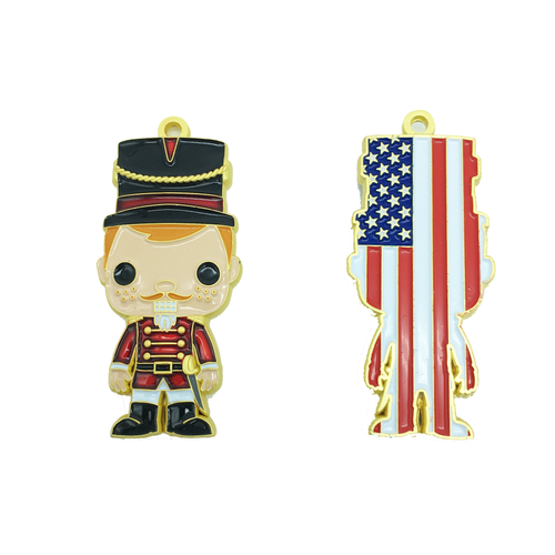 Nutcracker Challenge Coin Ornament Red White and Blue Version