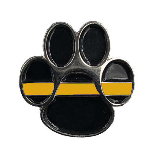 K9 Paw Thin Orange Line Canine Lapel Pin Search and Rescue USCG Coastie Coast Guard CL-014