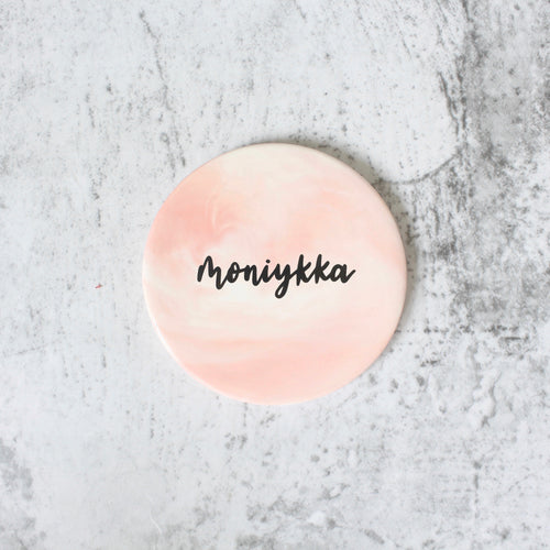 Round Marbled Coaster (Sweet Pink)