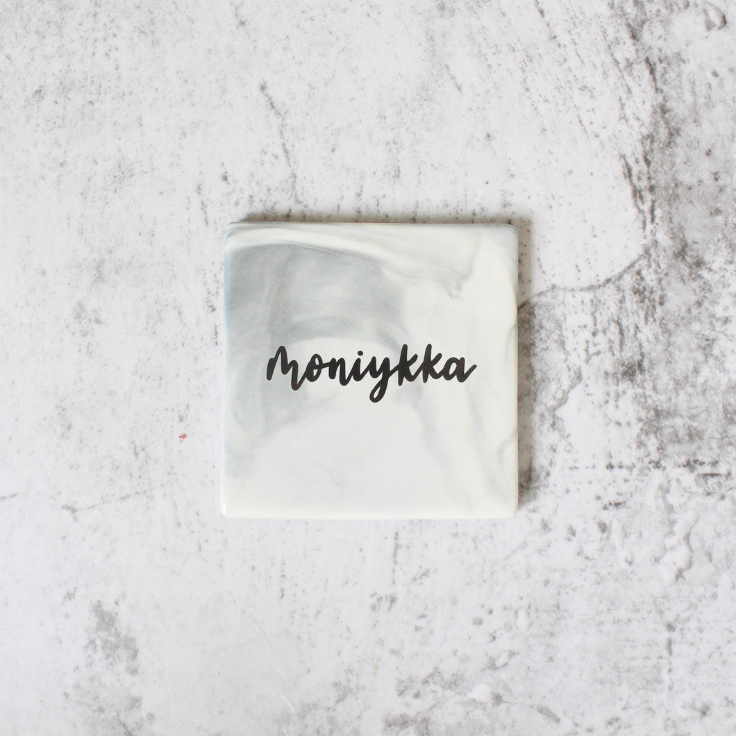 Square Marbled Coaster (Charcoal)