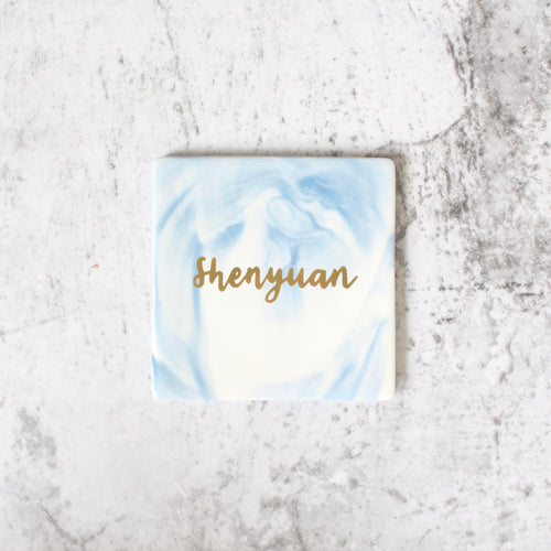 Square Marbled Coaster (Light Blue)