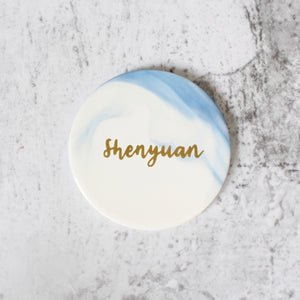 Round Marbled Coaster (Light Blue)