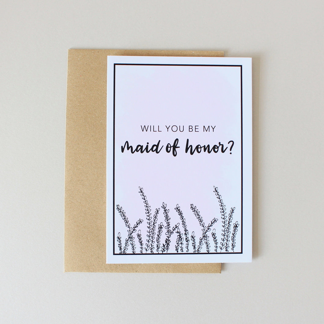 Will You Be My Maid of Honor? Card (Lavender)