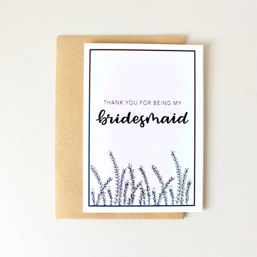 Thank You For Being My Bridesmaid Card (Lavender)
