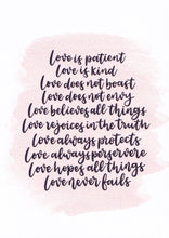 "Load image into Gallery viewer, ""Love is patient and kind"" Card"