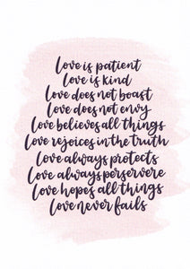 """Love is patient and kind"" Card"