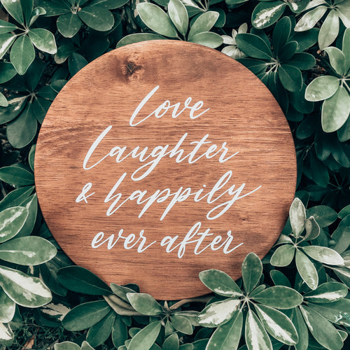 Petite Wedding Sign with Custom Quotes - Round (Wood)