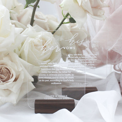 Personalised Acrylic Vows Set (1 pair)