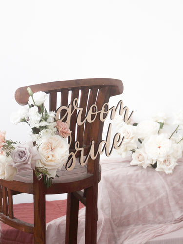 Wedding Chair Signs (bride & groom)