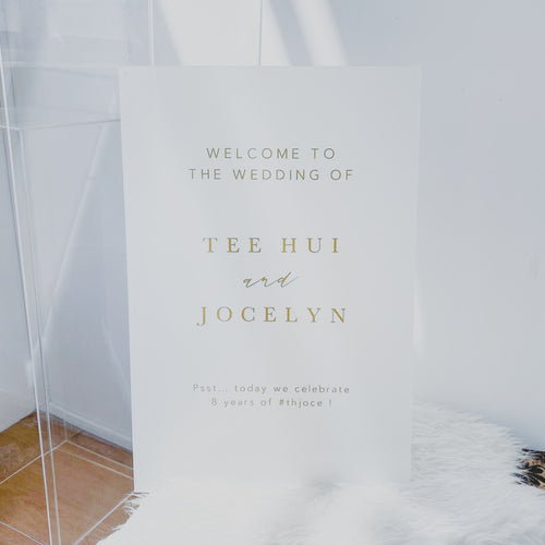 Minimalist Acrylic Wedding Welcome Sign (Semi-Custom)