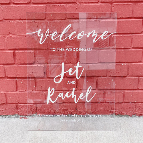 Clear Acrylic Wedding Welcome Sign (Semi-Custom)
