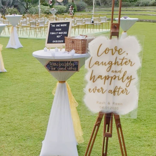 Acrylic Wedding Sign (Semi-Custom) - love, laughter and happily ever after