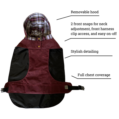 Urban trekker rain jacket feature list front view