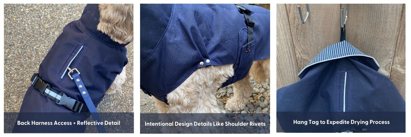 images of dog coat with harness hole, hardware details, and hang tag for drying