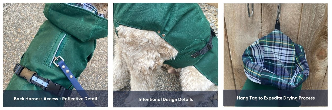 jacket feature list including dog jacket with harness hole, details, and hang tag for drying