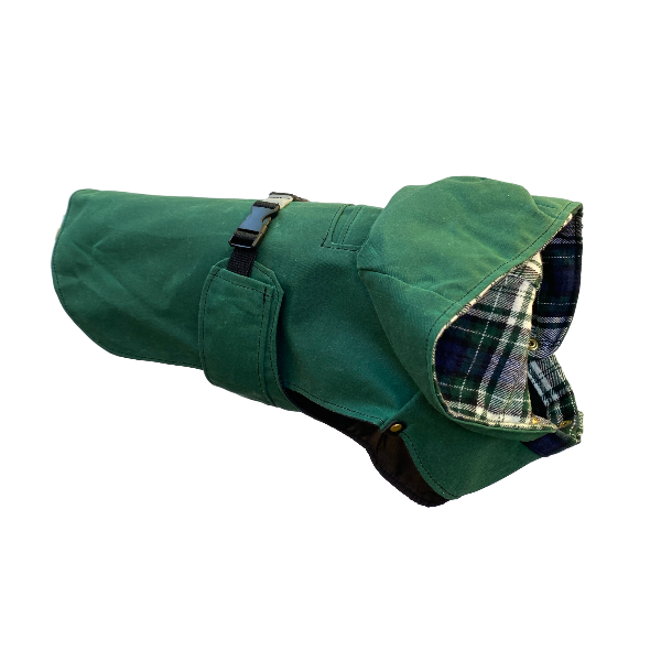 Profile view of hunter green waxed canvas dog jacket