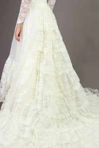 80s Tiered Lace Wedding Gown With Long Train