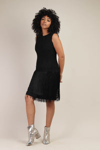 60s Black Fishnet Fringe Dress
