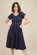 60s Blue Eyelet Lace Dress