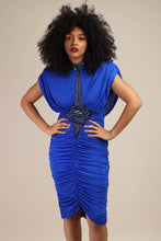 80s Blue Ruched Deco Dress