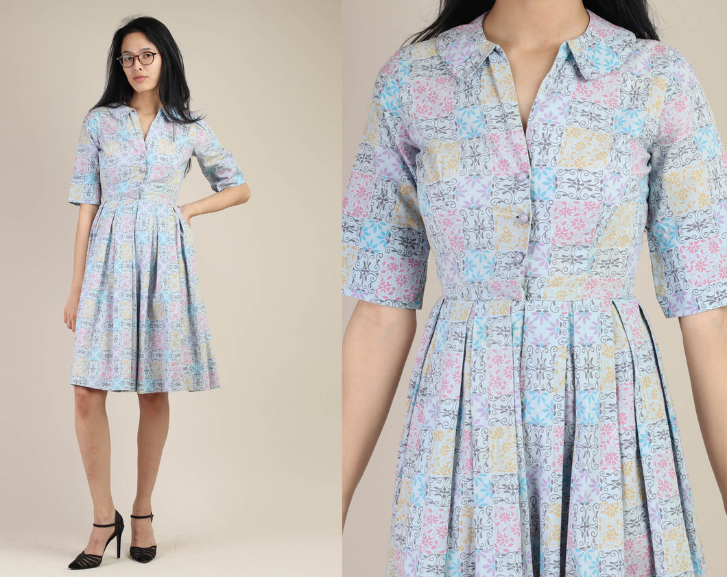 50s Lavender Printed Day Dress
