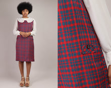 70s Plaid Pinafore Dress