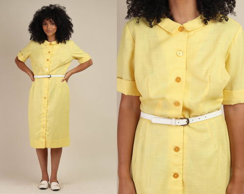 60s Yellow L'Aiglon Linen Dress