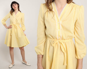 80s Yellow Yacht Dress
