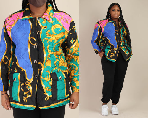 90s Silk Gold Ribbon Jacket