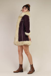 70s Purple Suede Penny Lane Coat