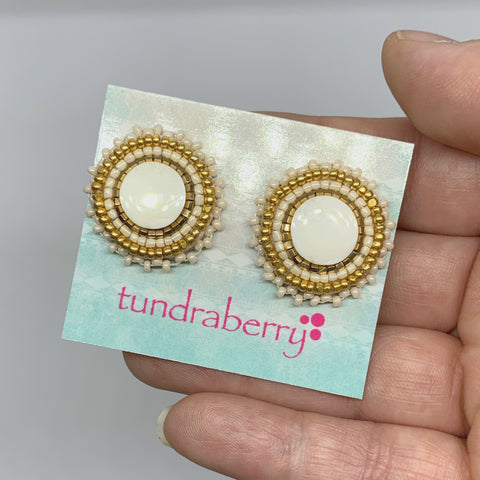 Beaded Ivory Studs w/24kt Gold-Plated Beads No. 1030