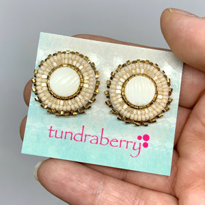 Beaded Ivory Studs w/24kt Gold-Plated Beads No. 1034