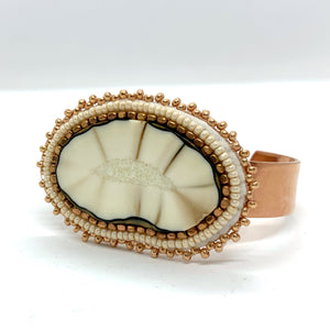Beaded Fossilized Ivory on Copper Cuff No. 1027