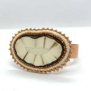 Beaded Fossilized Ivory on Copper Cuff No. 1028