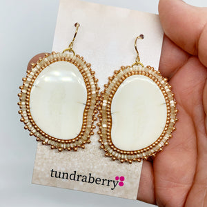 Beaded Ivory Earrings No. 1047